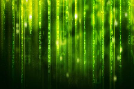 futurist: green matrix code background