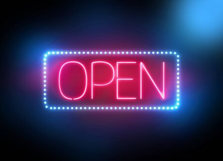 open sign: open sign neon in night