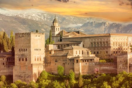 alhambra zonsondergang Stockfoto