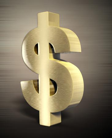 signo de pesos: dolar de oro 3d Foto de archivo