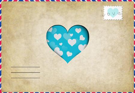 carta de amor: carta de amor de la vendimia con el corazón