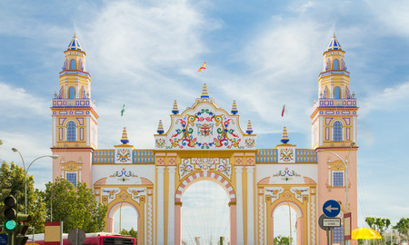 seville: SEVILLE - APRIL 23: An elaborate gate is erected each year during the Feria de Abril on April 23, 2015 in Seville, Spain.