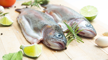 gutted: rainbow trouts Stock Photo