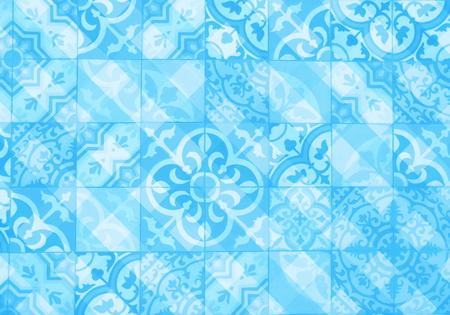 blue ornamental tiles pattern Reklamní fotografie