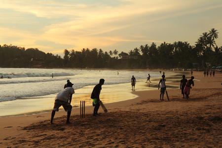 Cricket spel Stockfoto