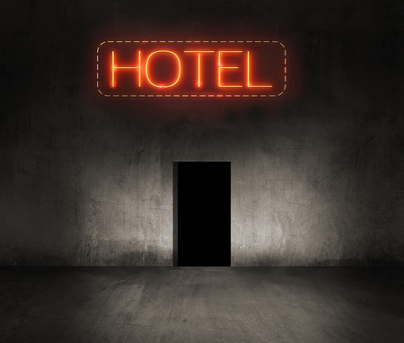 accomodation: hotel neon sign in the night