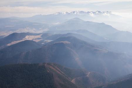 distant mountains aerial view Standard-Bild