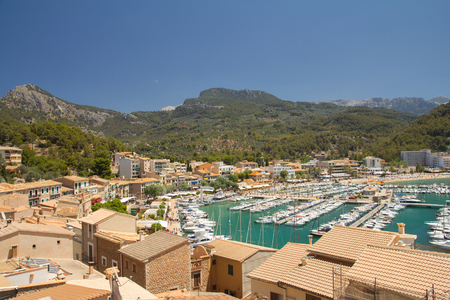 view of town rooftops and sea in summer mediterranean resort