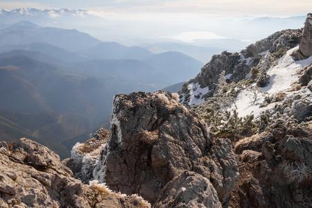 mountain range landscape in winter