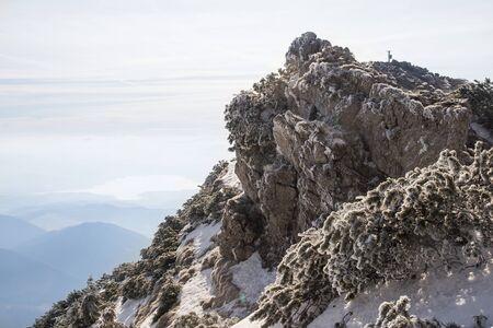 mountain peak summit in winter