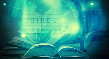 open digital ebook with binary data elearning concept Standard-Bild