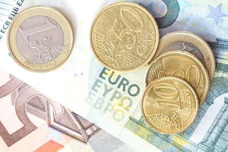 euro cash bovenaanzicht Stockfoto