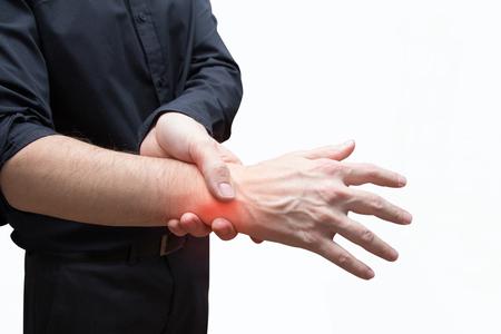 Man druk pijnlijke hand Stockfoto