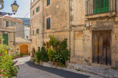 charming historical street in valldemossa spain Standard-Bild