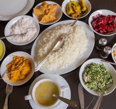 Indisch eten tafelblad Stockfoto