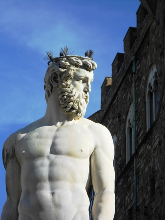 neptune: Marble statue of Neptune as a part of the Fountain of Neptune on the Piazza della Signoria in Florence, Italy. Stock Photo