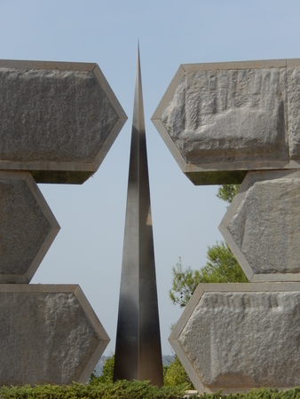hundreds and thousands: Jerusalem, Israel - October 12, 2015: Monument to the Jewish Soldiers and Partisans in the World Holocaust Remembrance Center Yad Vashem dedicated to the hundreds of thousands who lost their lives fighting against the Nazis.
