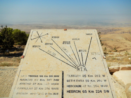 promised: Distance to the historical towns in Israel and the Promised Land from Mount Nebo, Jordan.