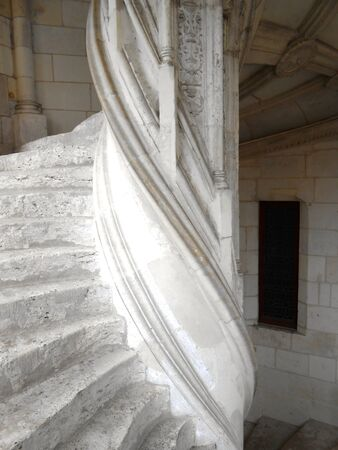 Stock Photo   Winding Stairs And Window In Royal Chateau De Blois, France.