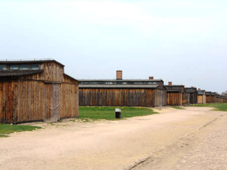 Wooden barracks in the concetration camp Auschwitz Birkenau, Poland.