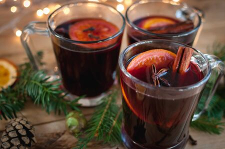 Close-up of Christmas mulled wine on wooden background