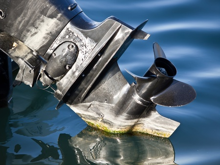 outboard: outboard engine propeller on the sea