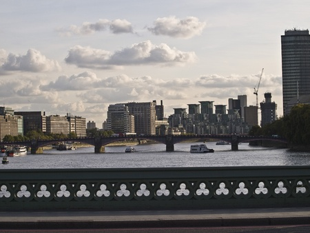 wiev on the London city from the bridge on the river Thames photo