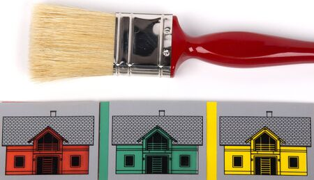 paint brush and houses in different colors photo