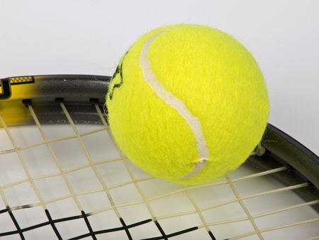tennis racket with yellow ball Stock Photo - 11849208