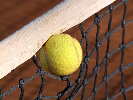 tennis ball stack in the net Stock Photo - 11849240