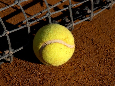 tennis ball on the ground near the net Stock Photo - 11849238