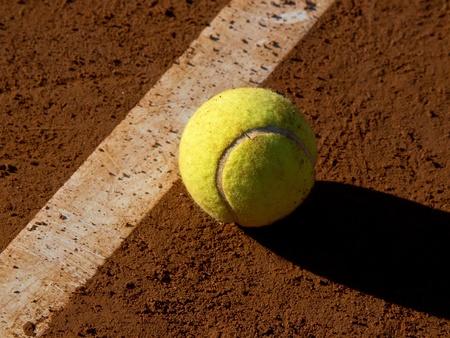 tennis ball near the line Stock Photo - 11849239