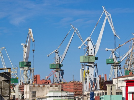 shipyard and cranes in Pula Croatia photo