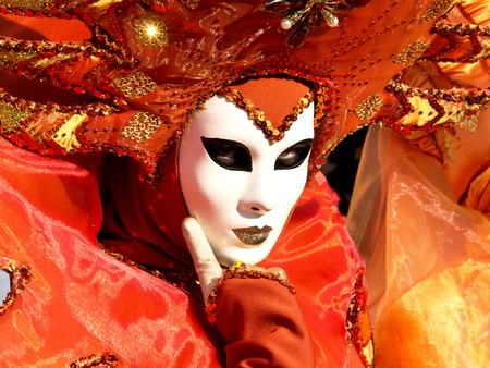 orange mask on the carnival in Venice