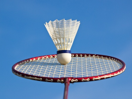 badminton racket and ball under the blue sky Stock Photo - 12977402