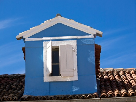 blue hose construction with white window on the roof Stock Photo - 13263532