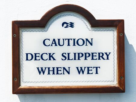 sign for slippery deck on the cruise boat Stock Photo - 13727196