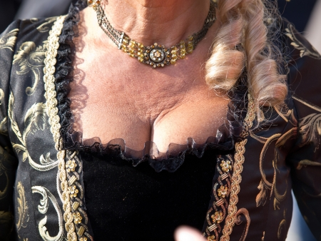 decollete: decollete of old woman on the Venice carnival