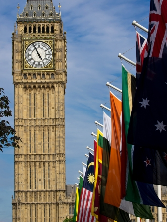 Big Ben tower with flags on Diamond Jubilee photo