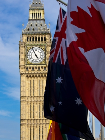 Big Ben with different flags photo