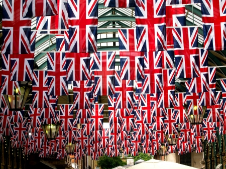 flags in Covent garden Stock Photo