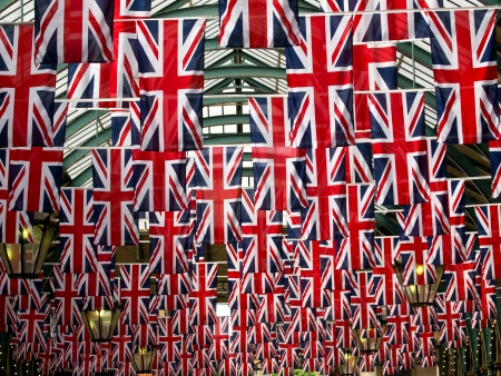 Union jack flags in Covent garden photo