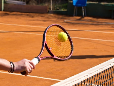 tennis racquet and the ball Standard-Bild