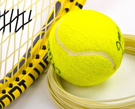 raquet: tennis racket ball and string