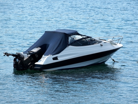 speed boat anchored in the bay Stock Photo
