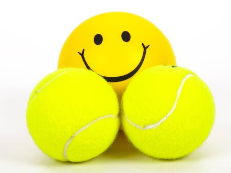 smiling tennis ball and two other balls Stock Photo - 14965409