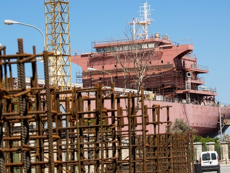 shipway: boat and crane in the shipyard