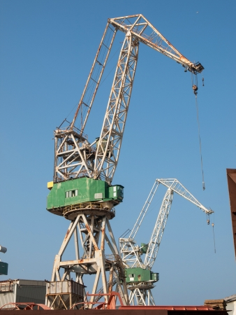 big old crane in the shipyard photo