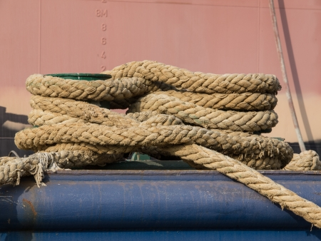 ropes wrapped around the bitt