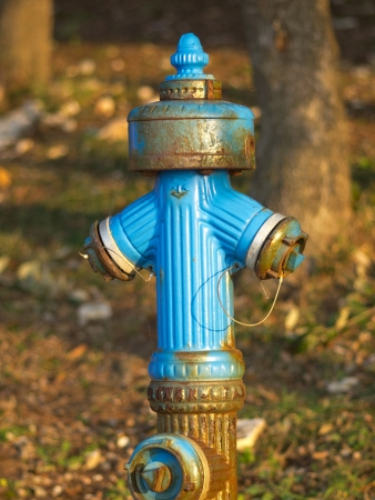 old blue and rusty water hydrant Stock Photo - 17116157